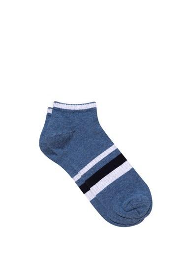 Mavi Çizgili  Patik Çorap Lacivert